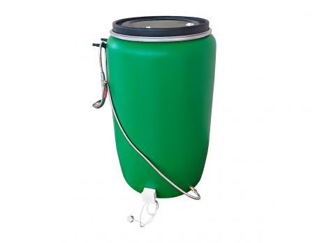 Бочка для душа 227 литров с подогревом СТАНДАРТ с гибким шлагом (зеленая)