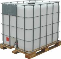 Емкость п/э куб. 1000л с краном белая на деревянном поддоне (Еврокуб) НОВАЯ