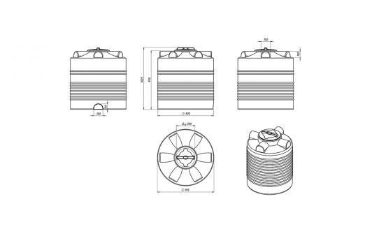 Емкость ЭВЛ 500 с крышкой с дыхательным клапаном синий